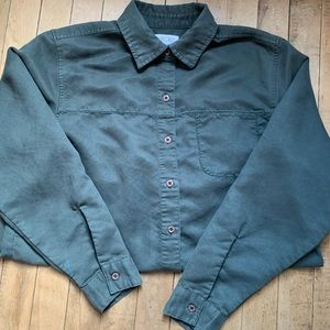 Forest green suede-material button down